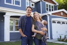 Happy family in energy efficient home