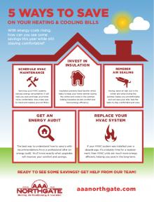 Ways to Save on Heating and Cooling Bills, infographic, AAA Northgate, Peoria, IL