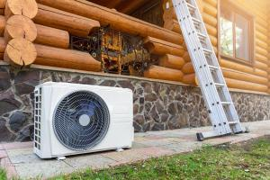 heat pump outside stone residential home