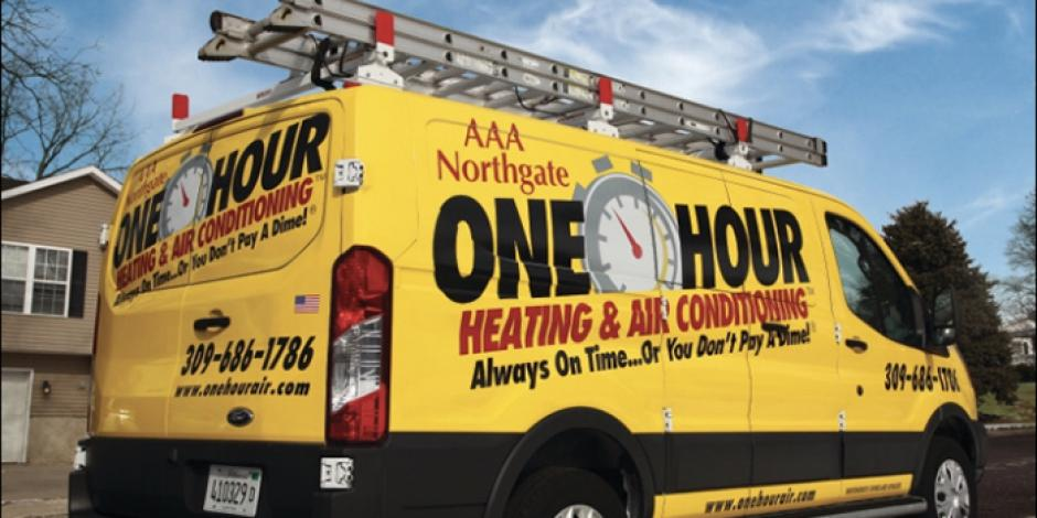 AAA Northgate One Hour Heating & Air, Yellow truck outside of residential home, IL