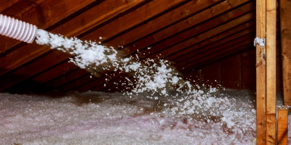 Blow-in cellulose insulation in an attic