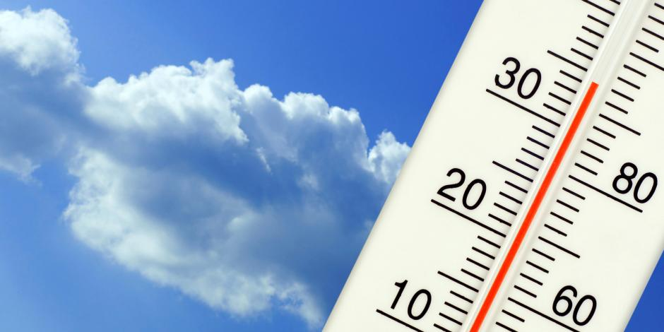AAA Northgate One Hour Heating & Air, thermometer with hot summer temperature against blue sky, Peoria, IL