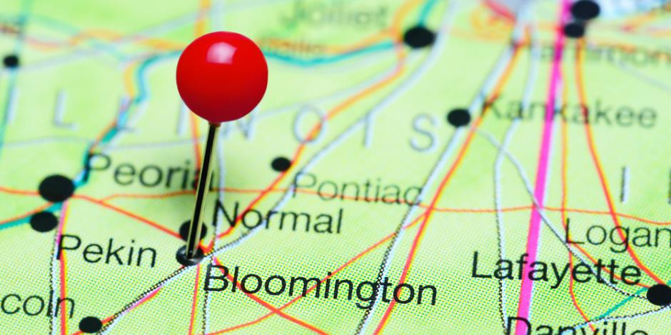 bloomington IL map with pin